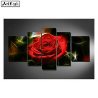 5d diy diamond painting red rose five paintings full square flowers 3d cross stitch rhinestone mosaic stickers crafts