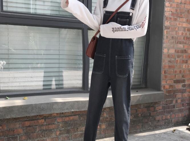 Autumn Korean Style Ulzzang Harajuku Denim Romper Korean BF Style Denim Romper For Female Loose High Waist Ankle Length Romper 7