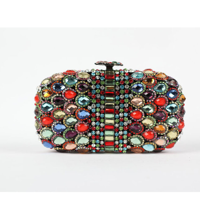 Jeweled Studded Clutch Purse Glitter Statement Crystal Bags Colorful Luxury Handbags With Waterdrop Crystals