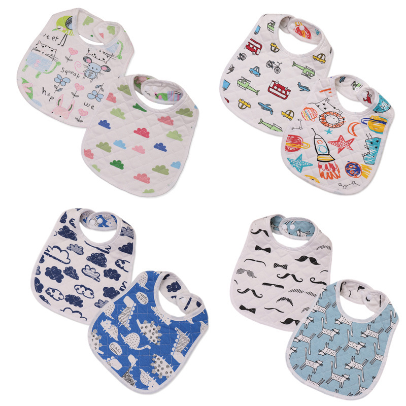 30*22.5cm New Infant Baby Girl Boy Bib Kid Toddler Dinner Food Feeding Bibs Double-deck 100% Cotton Burp Cloths Saliva Towel