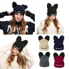 WISH CLUB Hot Sale Brand Knitted Acrylic Warm Winter Hat Cat Ears Pattern Hat Skullies Beanies