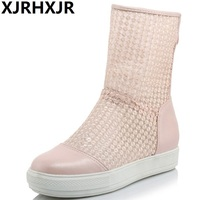 XJRHXJR Women White Shoes Sandalias Woman Gladiator Flat Heels Sandals Ladies Summer Boots Sandalias Femininas Large