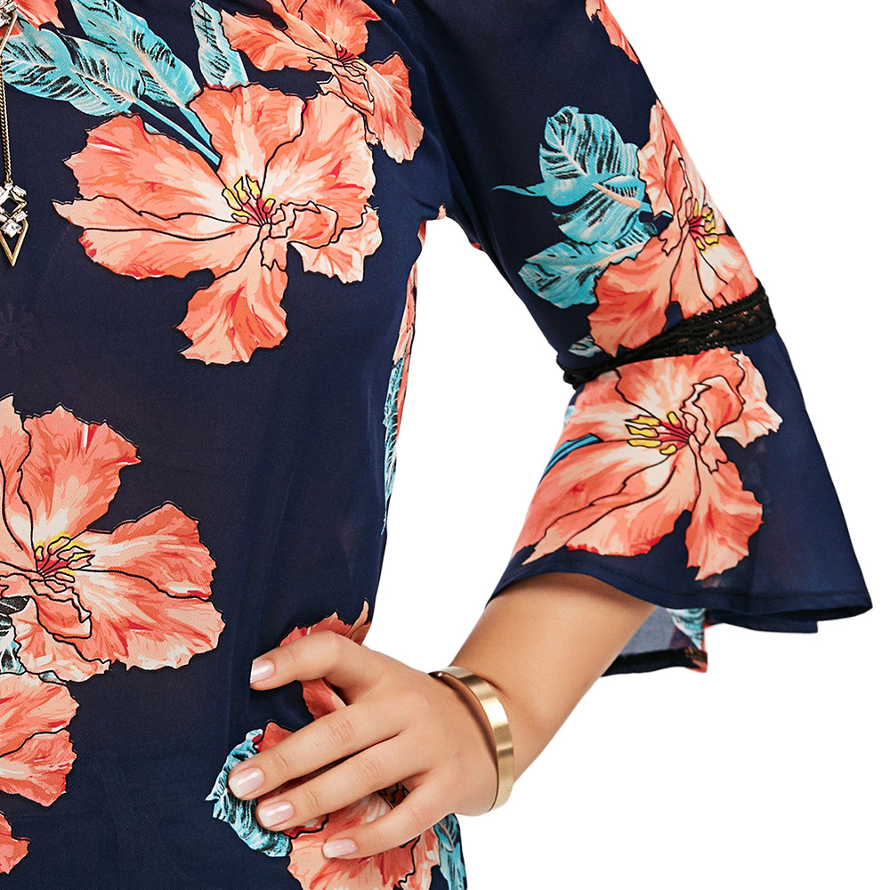 7ecb543598970 Aliexpress.com   Buy Gamiss Plus Size 5XL Floral Chiffon Off The Shoulder  Hawaiian Blouse Summer 2018 Blusas Sexy Flare Sleeve Boho Beach Tops Blouse  from ...