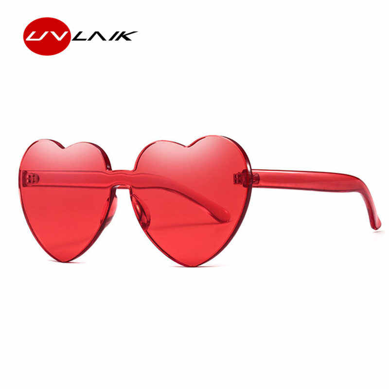 UVLAIK Framelessรูปหัวใจแว่นตากันแดดผู้หญิงแมวตาแว่นตาDesigner Lolitaแว่นตาของขวัญที่ดีที่สุดสำหรับสาว