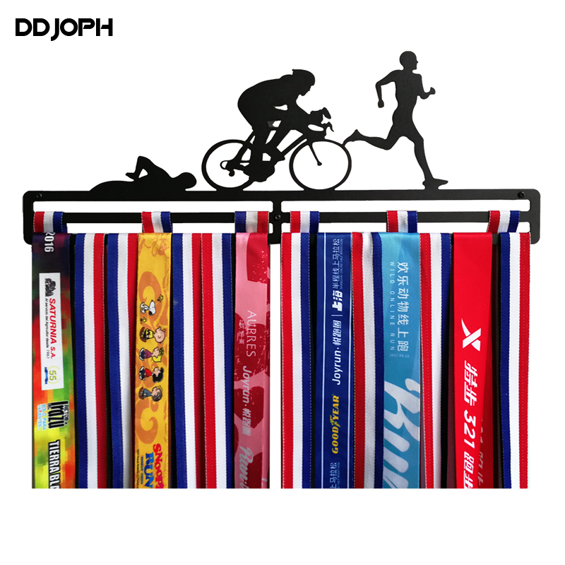 Triathlon medal hanger Sport medal display hanger for Triathlon Swimm Bike Run Metal medal holder hold