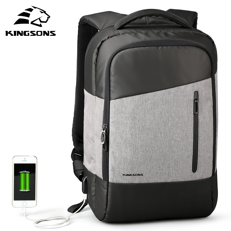 Kingsons Men USB External Charging Function Laptop Backpack Waterproof Nylon Bags Business Dayback Men and Women's Knapsack kingsons external charging usb function school backpack anti theft boy s girl s dayback women travel bag 15 6 inch 2017 new