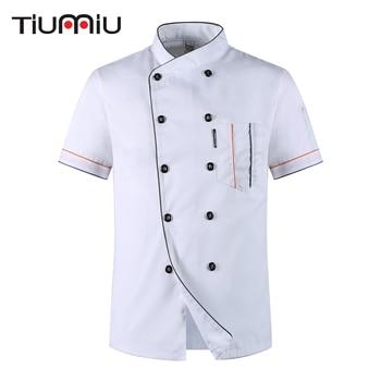 Venta al por mayor de los hombres de las mujeres de manga corta doble pecho transpirable cocina ropa de chaqueta de Chef Catering restaurante panadería camarero uniforme