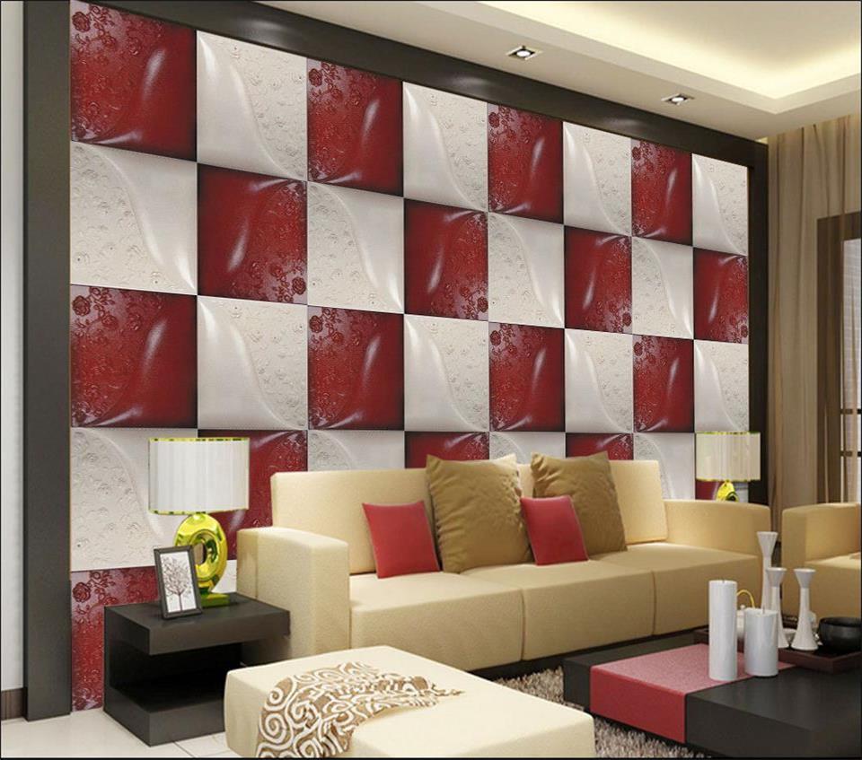 100% Waar 3d Foto Behang Custom Muurschildering Woonkamer Rood En Wit Lederen Carving 3d Schilderij Sofa Tv Achtergrond Muur Niet Geweven Sticker Verpakking Van Genomineerd Merk