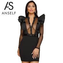 8cef50da98 Anself mujeres verano malla volante Vestido de manga larga Club del partido  del vestido de noche desgaste Bodycon lápiz vestido .