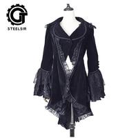 Женская мода готический раздвоенный хвост Женское пальто стимпанк с расклешенными рукавами кружевная куртка осень зима Дамская бархатная