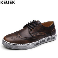 Big Size 38 48 British Style Men Casual Shoes Geunine Leather Vintage Fashion Lace Up Brogue