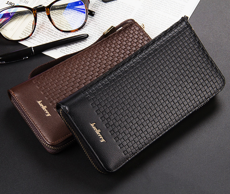 2016 newest mens Square grid plaid long section with strap purses wallets clutches free  ...