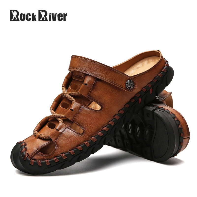 Genuine Leather Sandals Men 2018 Mens Sandals Summer Breathable Casual Outdoor Beach Sandals Gladiator Mens Shoes Rubber Sole