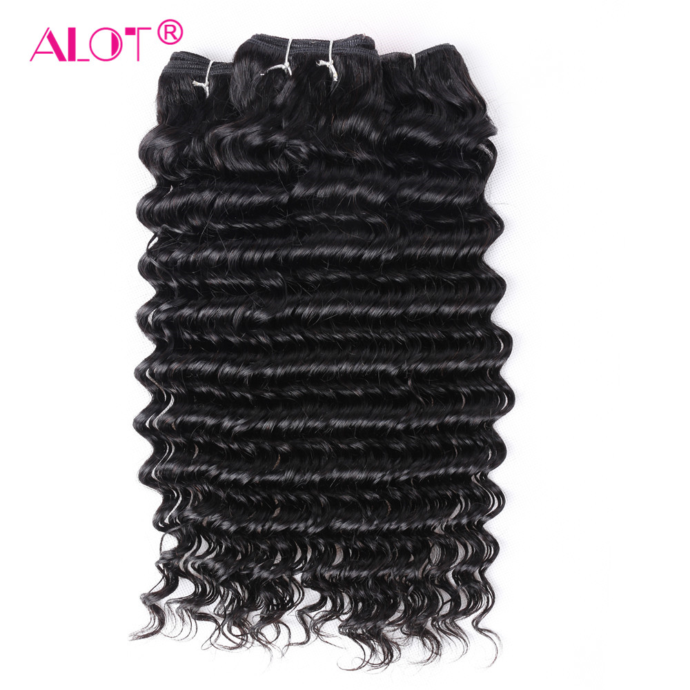 Alot Brazilian Deep Wave Human Hair 3/4 Bundles Hair Weaving 8 To 28 Inch Machine Double Weft Non Remy Hair Extensions