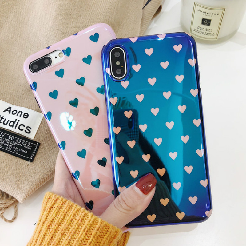 Galleria fotografica Electroplate Blue Light Soft Phone Cover for iPhone X 6 6S 7 8 Love Heart Silicone Case for iPhone 6 6s 7 8 Plus
