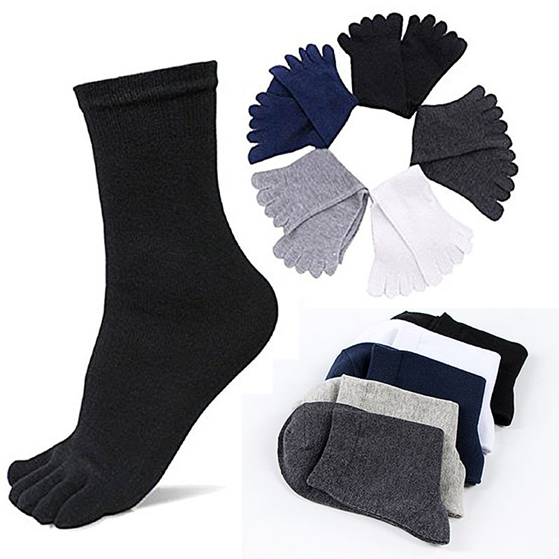 Hot Sale 1 Pair Comfortable Mens Crew Socks Dress Standard Casual Business Five Fingers