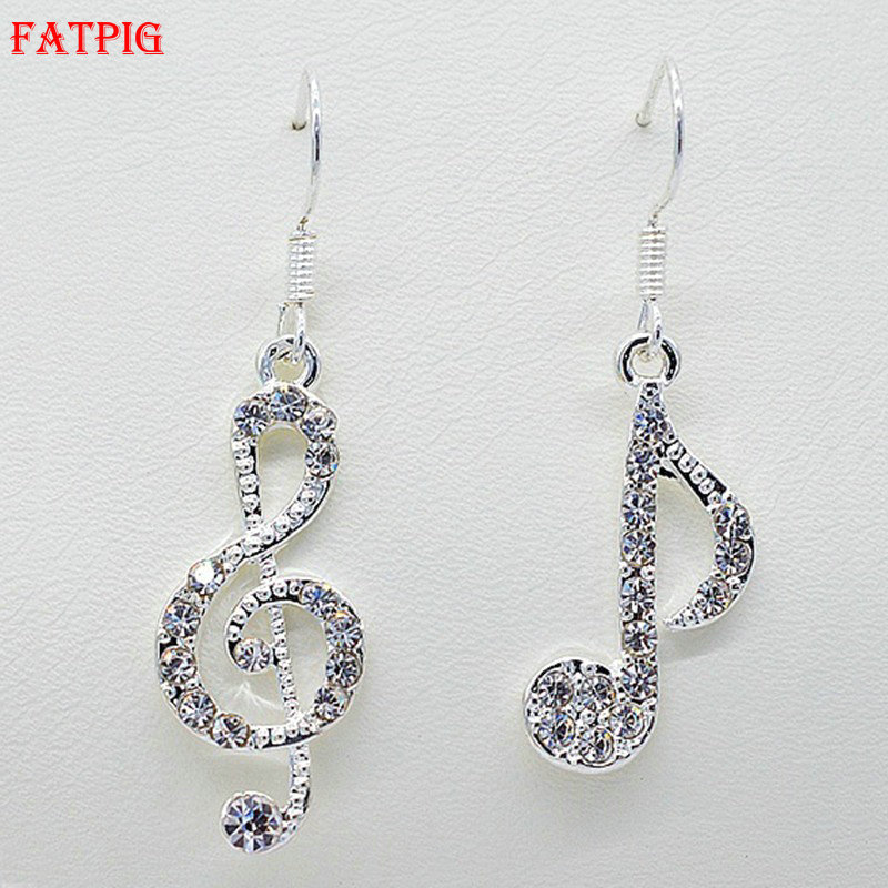 Lovely Music Notes Hook Earrings for Women Rhinestone Earrings Silver Color Female Accessory Party Spring Summer Jewelry 2018