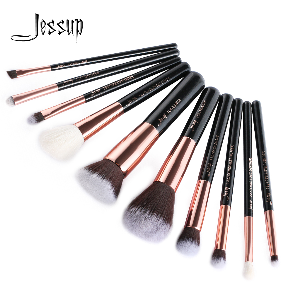 Jessup brushes 10pcs Rose Gold/Black Makeup Brushes Set Makeup Brush Tools kit Foundation Powder Buffer Cheek Shader T156 jessup brushes black rose gold professional makeup brushes set make up brush tools kit foundation powder buffer cheek shader