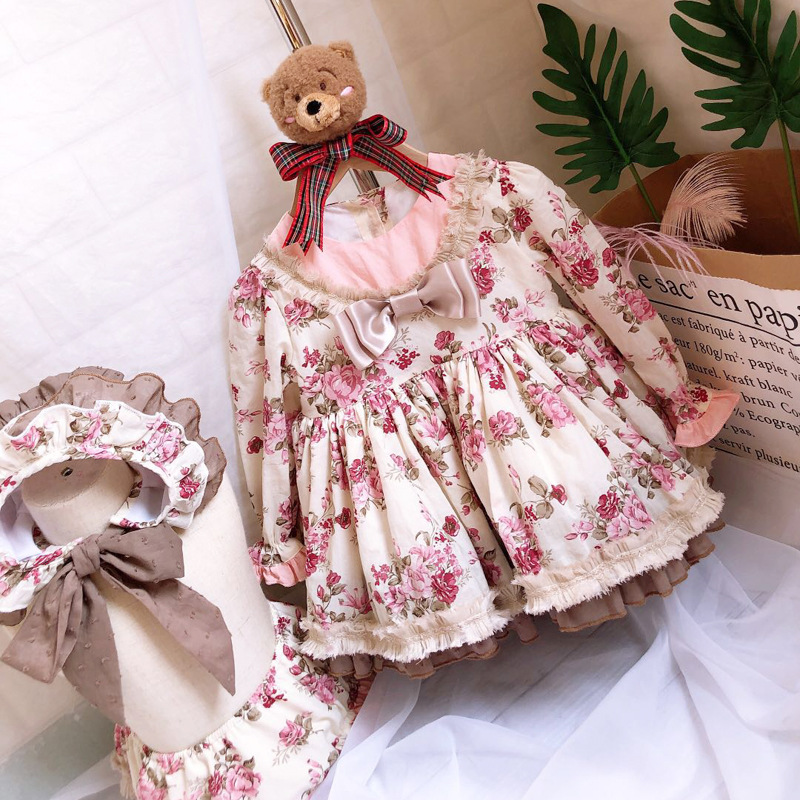 2019 nouveau automne Floral imprimé fille robe d'anniversaire fête princesse Costume 3 pièces pour filles Boutique enfants fille 1 2 3 4 5 6 vêtements - 3