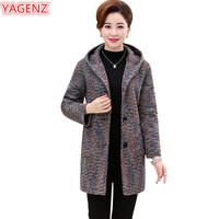 YAGENZ Autumn Coat Woman Hooded Coat Plus size Long Coat Single breasted Women clothing Top Middle aged mother Woolen Jacket 626