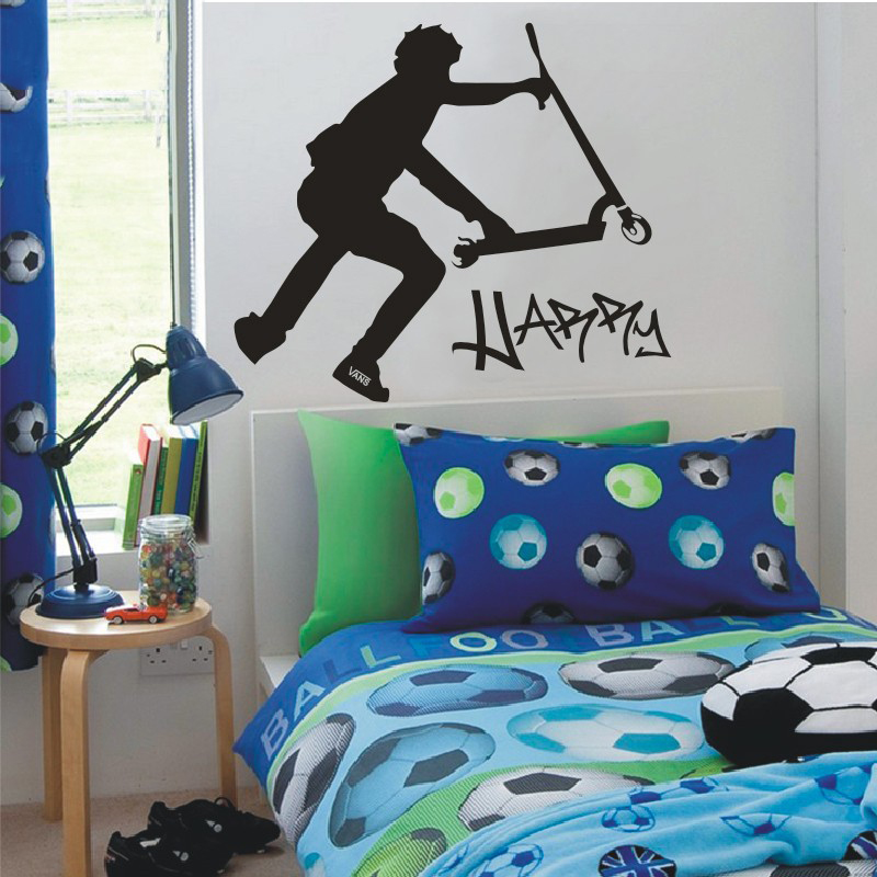 Extra large scooter stunt custom wall decals vinyl stickers home decor stikers for wall decoration kids