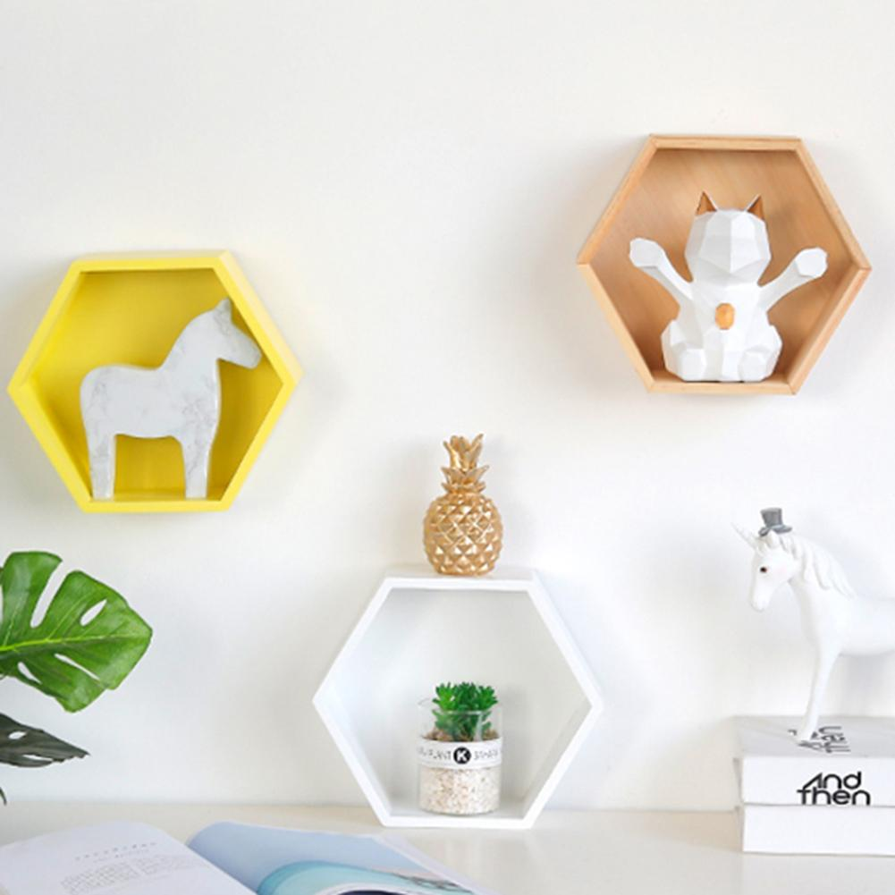 Nordic Style Home Office Decor Wall Mount Wood Hexagonal Frame Books Toy Storage Shelf Rack Holder For Home Child Room Decor