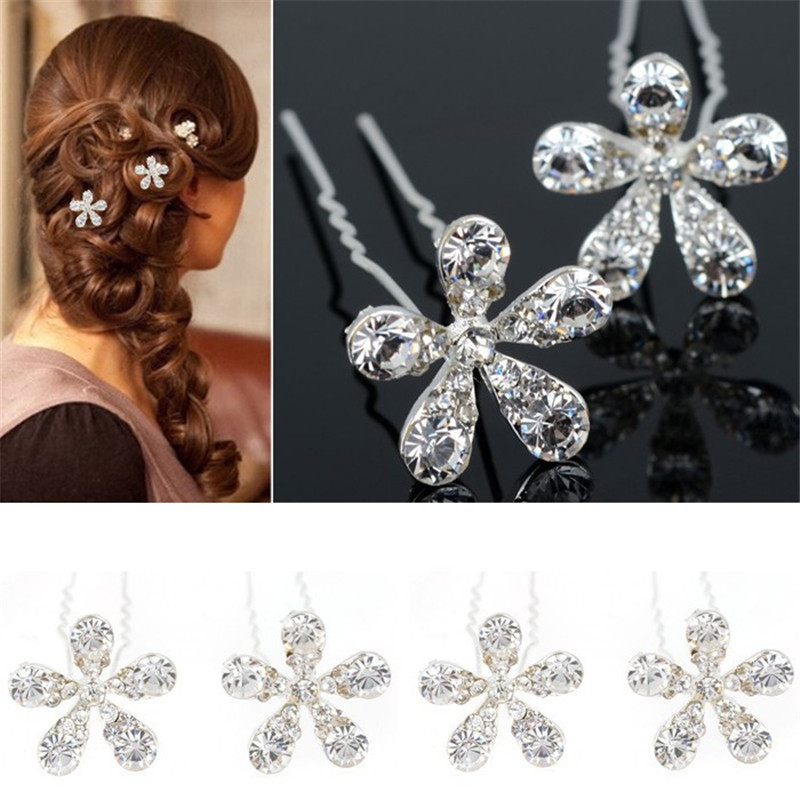 mumujewelry 20Pcs Wholesale Crystal Flower Hairpins Clips Bridal Bridesmaid Wedding Party Hair Jewelry Accessories