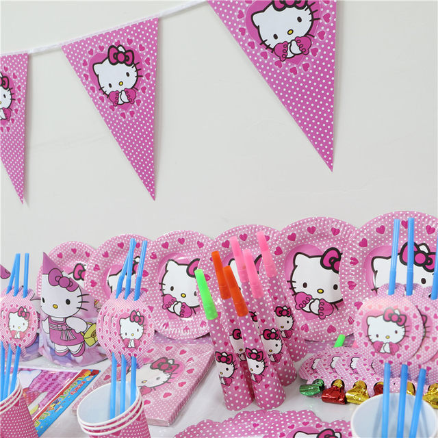 New 74pcs luxury kids girls birthday Party Decoration Set hello kitty theme party supplies baby birthday party pack paper plates  sc 1 st  Aliexpress & Online Shop New 74pcs luxury kids girls birthday Party Decoration ...