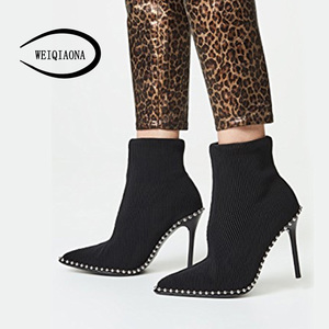 Image 2 - SHUNRUYAN 2018  Brand Design Vintage Rivet Women Shoes Winter Shoes Short Boots High Heels Pointed Toe Party Shoes Ladies Shoes