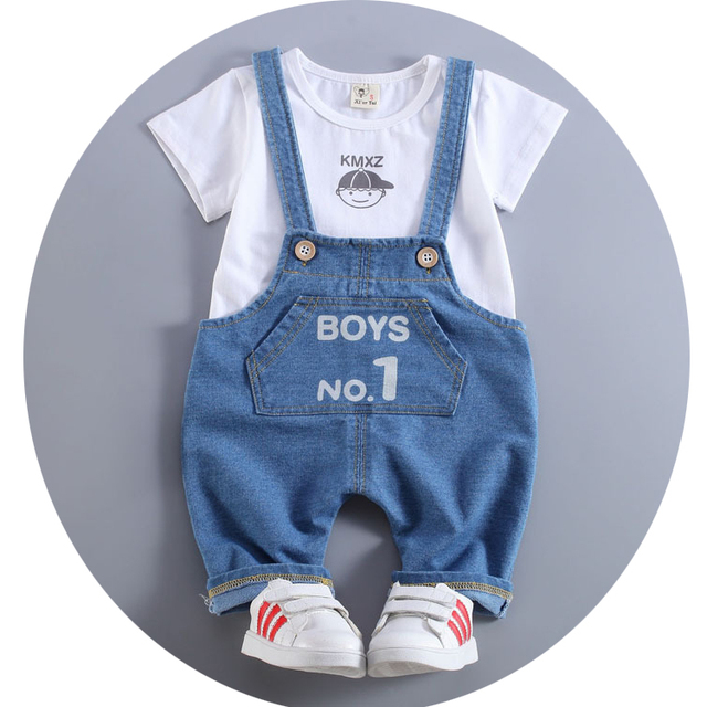 Одежда для мальчиков 2018 летние Новая одежда для малышей хлопковый комплект с короткими рукавами и круглым вырезом для мальчиков комбинезон костюм A011