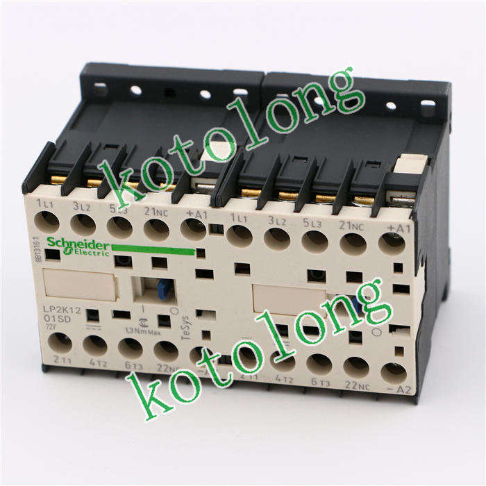 TeSys K reversing contactor 3P 3NO DC LP2K1201SD LP2-K1201SD 12A 72V DC coil tesys k reversing contactor 3p 3no dc lp2k1201kd lp2 k1201kd 12a 100vdc lp2k1201ld lp2 k1201ld 12a 200vdc coil