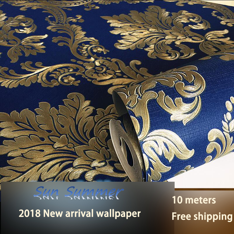 PVC navy blue deep embossed wallpaper European damask wallpaper Living room bedroom background wall paper free shipping eco friendly wallpaper peacock print embossed pure paper tv background wallpaper
