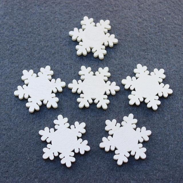 200pcs Lot White Wood Snowflake Wooden Decorations Snow Flower Blank DIY Craft Home Christmas Party