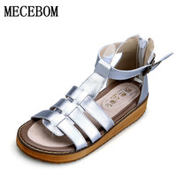 New 2017 Genuine Leather Gladiator Sandals Summer Rome Fashion Girls Sandals Casual Beach Shoes Woman Platform