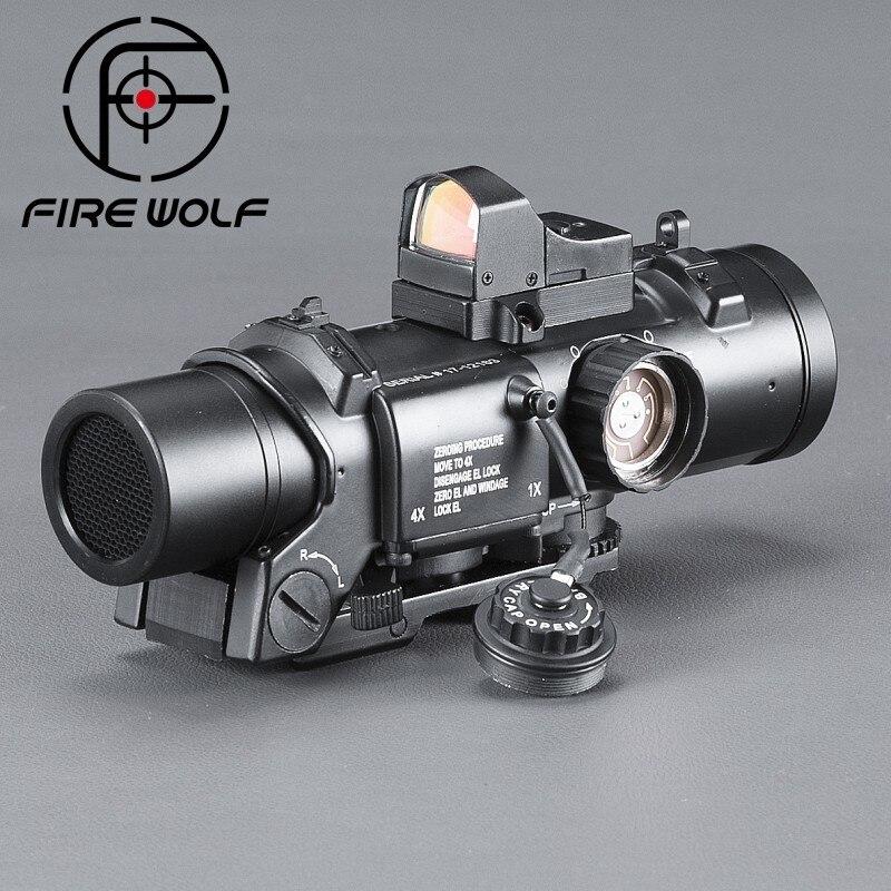 Fuego Lobo Riflescope alcance telescópica telescopio instrumento óptico Airsoft Acog prismáticos de alta gama punto rojo