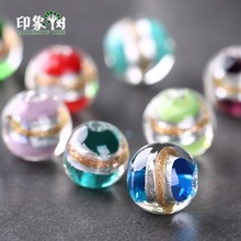 10pcs 12mm Silver Foil Sand Glass Beads Lampwork Multi Color Charm Handmade Ornament DIY Jewelry Making 16018