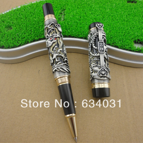Jinhao Chinese Dragon Offspring Roller Ball Pen Black Color jinhao ancient dragon playing pearl roller ball pen with jewelry on top with original box free shipping