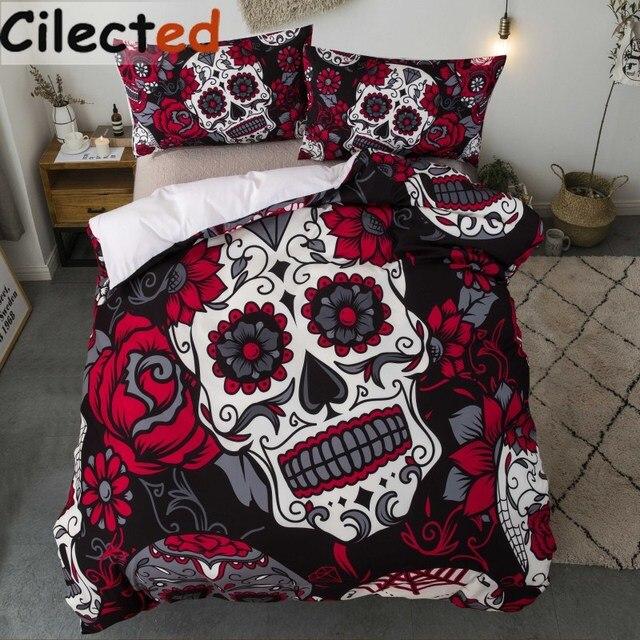 Cilected 3pcs Fl Skull Bedding Set Duvet Cover Elegant Skeleton S Bedclothes King Queen Size Red