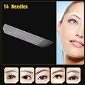 50 pçs/lote JM611D-X5 Microblading Manual Maquiagem Permanente Agulhas de Tatuagem Profissional 3D Sobrancelha Bevel Lâminas de 14 Pinos