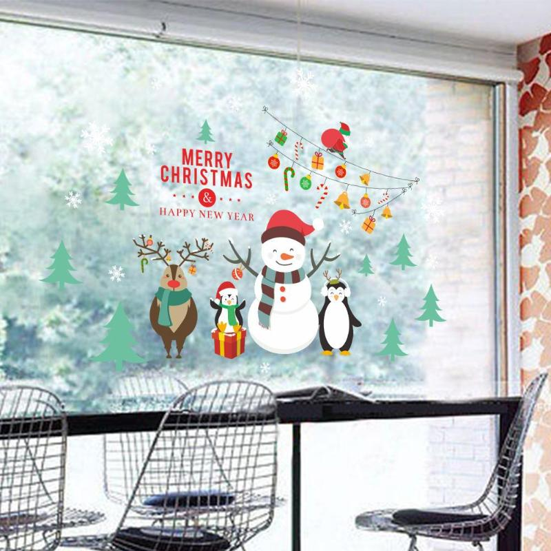 Wall Stickers Christmas Tree Penguin Snowman Showcase Glass Sticker Window Wall Decals Christmas Decorations for Home