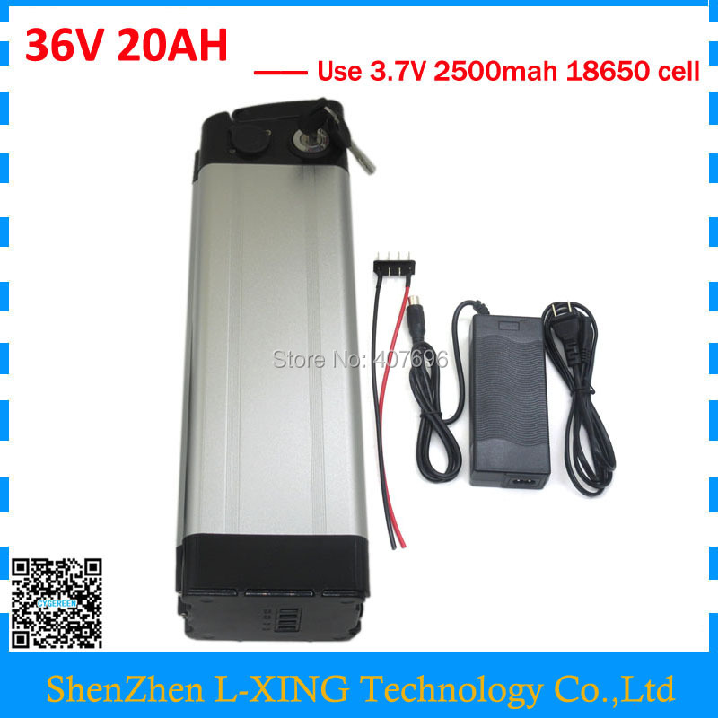 36V Electric bike battery 36V 20AH 1000W silver fish li-ion 36 V 20AH lithium Battery Bottom discharge free shipping hot sale bottom discharge electric bike 36v 8ah li ion battery 36v 8ah electric bicycle silver fish battery with charger bms