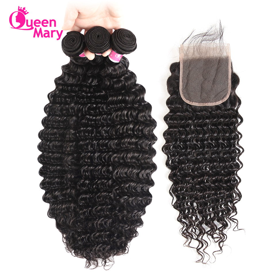 Brazilian Deep Wave Bundles With Closure 4 Bundles Brazilian Human Hair Weave 3 Bundles With Closure Queen Mary Non Remy Hair