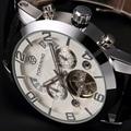 Prata Aço Inoxidável Caso Pulseira de Couro Preto automático Dial Branco Data Dia Mês Ano de Exibição Homens Casuais Relógio Mecânico