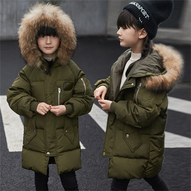 Boy and girl 2017 new long thick fur collar jacket winter for size 4 5 6 7 8 9 10 11 12 years child tide coat casual outerwear children cowboy jacket coat hooded 2017 winter new tide thick cashmere long outerwear size 4 5 6 7 8 9 10 11 12 13 years girl