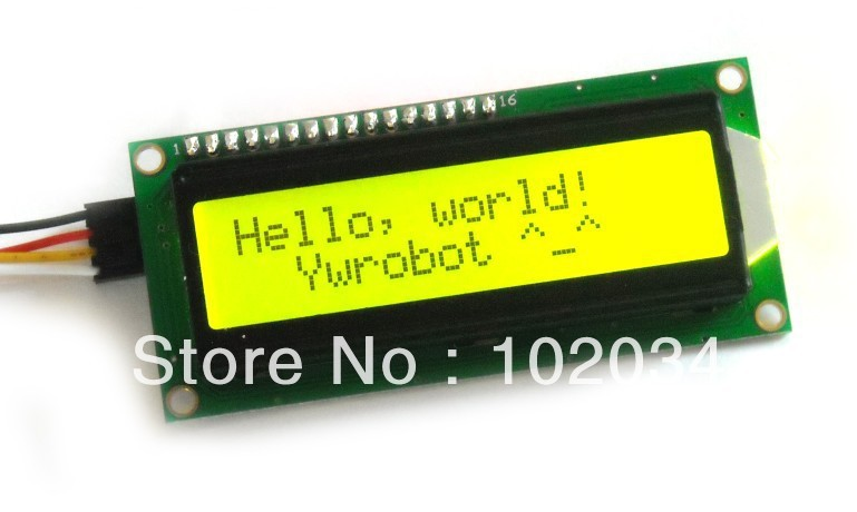10pcs x Yellow Green Screen IIC/I2C 1602 LCD module with library files