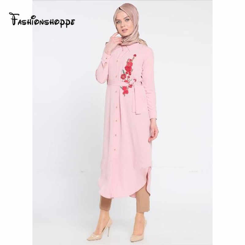 Muslim Women Shirt Dress Abaya Embroidery Jilbab Tunic Long Robe Gowns Big Size Loose Style Arab Dubai Thobe Islamic Clothing