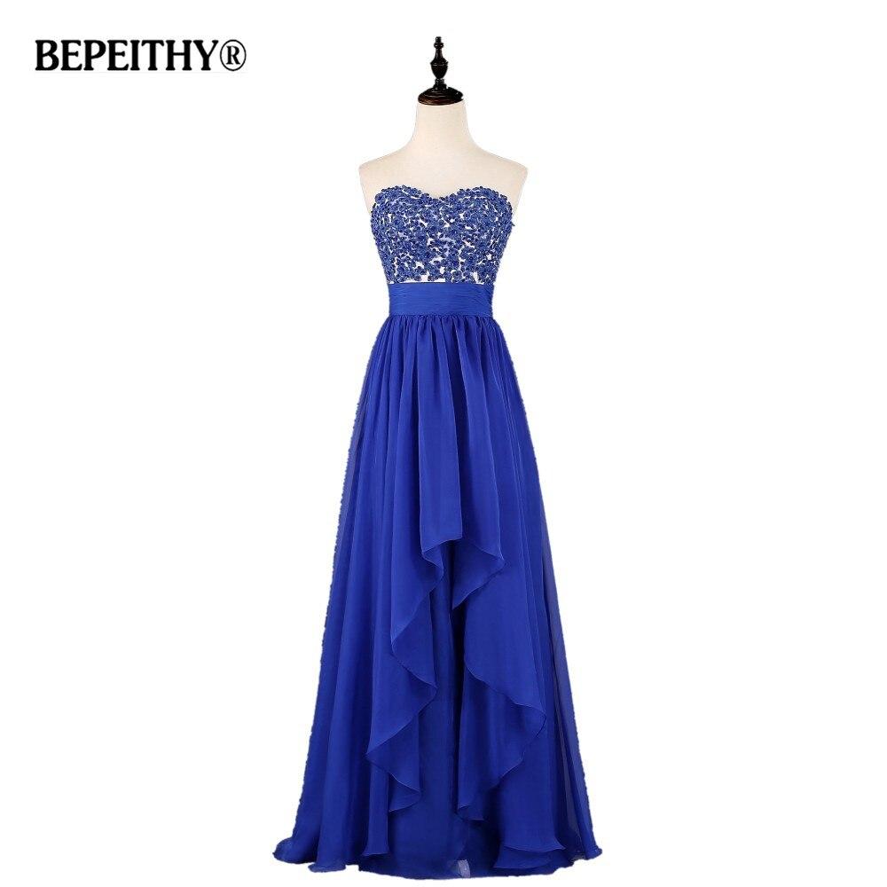 Robe De Festa Longo bleu Royal en mousseline De soie longues robes De soirée fête élégante longueur De plancher pas cher en ligne chine bal robe élégante