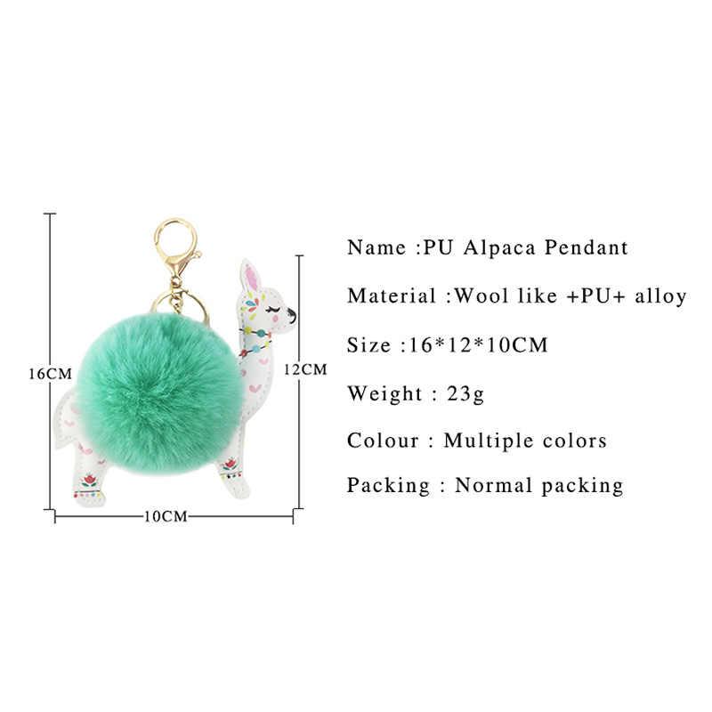 Adorável PU artificial bola de lã de Alpaca de Pelúcia chave pingente cadeia senhora bagagem, chaves do carro acessórios acessórios
