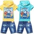 Novo 2016 Meninos Roupa Dos Miúdos Conjuntos de Roupas de bebê Meninos ROBOCAR POLI Ternos do esporte T Shirt Shorts Jeans Calças Roupas Conjuntos POLI ROBOCAR