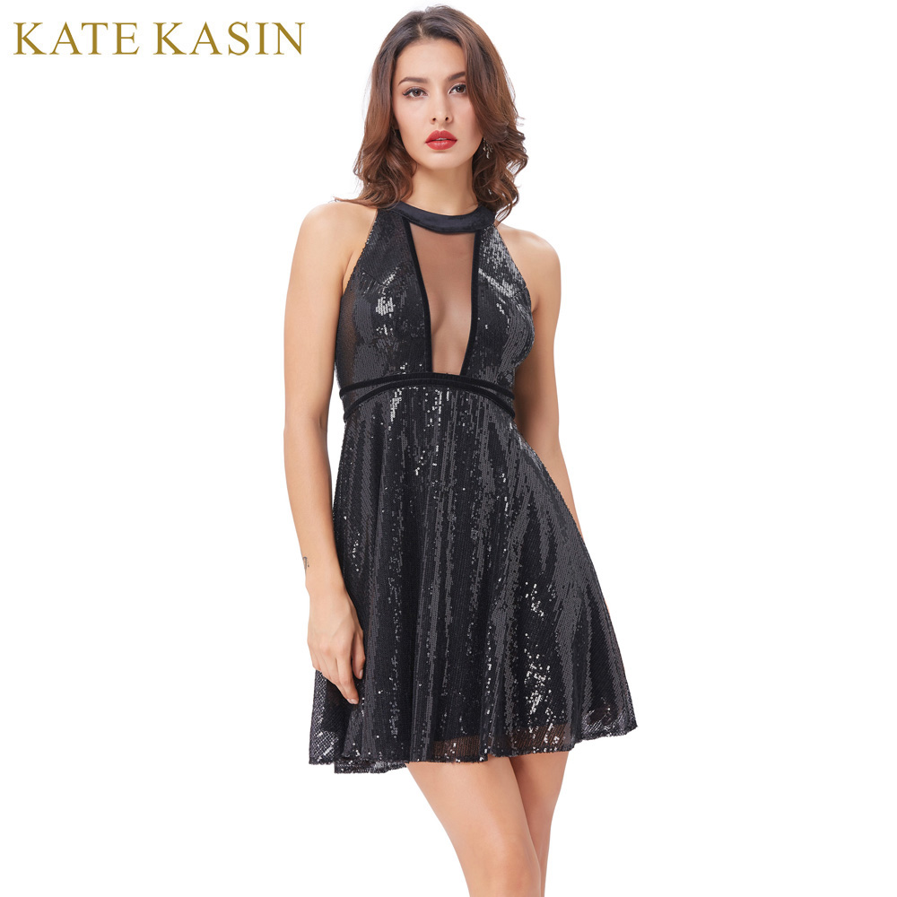 Short little black party dress with back cut outs - Kate Kasin Sequins Short Prom Dresses 2017 Sleeveless Cut Out Back Knee Length Black Prom